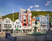 Bergen, quadrato del mercato, Norvegia Fotografie Stock