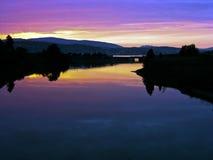 Bergen river in sunset Stock Photos
