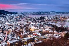 Winter City Scene with Aerial View of Bergen Center at Twilight stock photos