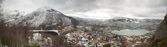 Panorama Bergen city, Norway. Bergen seen from fløyen. Picture from late winter 2018 Royalty Free Stock Image