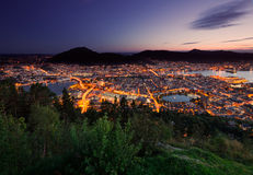 Bergen skyline from above during sunset. Norway Royalty Free Stock Photography