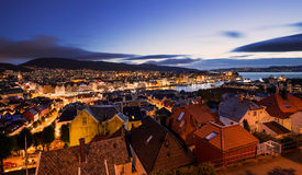 Bergen skyline and houses during sunset Royalty Free Stock Photography