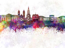 Bergen skyline in watercolor Stock Image