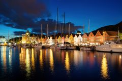 Bergen Sunset Norway stock photo