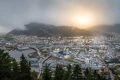 Bergen town seen from above Royalty Free Stock Photography