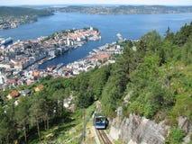 Bergen und Fløybanen Stockfotografie