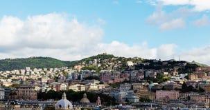 Bergen van de Italiaanse stad van de tijdtijdspanne van Genua stock videobeelden