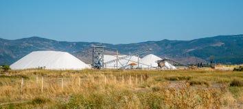 Bergen van zout die met zware machines worden geoogst en conve stock foto's