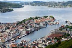 Bergen, vista della città da sopra Immagine Stock Libera da Diritti