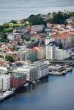 Bergen, vista della città da sopra Immagini Stock