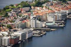 Bergen, vista della città da sopra Fotografie Stock Libere da Diritti