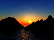 Bergen in Water royalty-vrije illustratie
