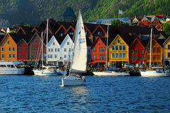 Bergen waterfront, Norway. Sailboats lining the docks with colourful houses in Bergen, Norway, a UNESCO architectural heritage site Stock Photography