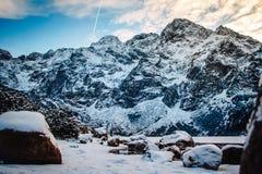 Bergenbomen met sneeuw worden behandeld die De bomen zijn bevroren Voor achtergrond stock afbeeldingen