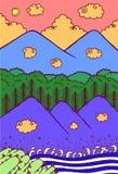Bergenlandschap - beeldverhaalhand getrokken kunstwerk Krabbelillustratie met aard openlucht Vector art stock illustratie