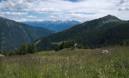 Bergenlandschap in de lente in Valtellina Stock Fotografie
