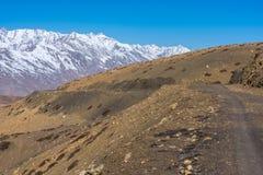 Bergenweg - Langza-Dorp, Spiti-Vallei, Himachal Pradesh royalty-vrije stock foto's