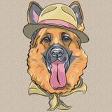Berger allemand de bande dessinée de vecteur de chien drôle de hippie Photographie stock libre de droits