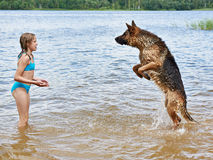 Berger allemand et fille jouant dans le lac Image stock