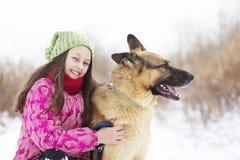 Berger d'enfant et de chien Photographie stock libre de droits
