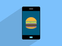 Berger on smartphone,cell phone illustration Royalty Free Stock Photography