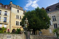 BERGERAC, FRANCE - SEPTEMBER 10, 2015: Statue of Cyrano placed in Bergerac, Dordogne, France, September 2015 Royalty Free Stock Images