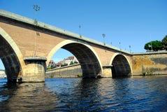 Bergerac old bridge. Over the Dordogne river in France Stock Photo