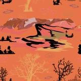 Berget sörjer träd, himmel somlandskap räcker den utdragna vektorillustrationen royaltyfri illustrationer