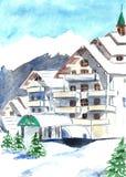 Berget skidar semesterorten med insnöad vinter för flygillustration för näbb dekorativ bild dess paper stycksvalavattenfärg Arkivbild