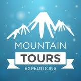 Berget turnerar expedition på blå bakgrund royaltyfri illustrationer