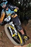 Bergfietser Barel Fabien - Enduro-raceauto Royalty-vrije Stock Afbeeldingen