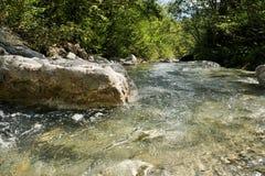 Bergflod i de Tyrolean fjällängarna Arkivfoton