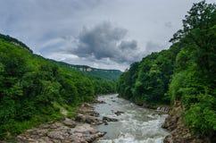Bergflod i Kaukasuset Arkivfoton