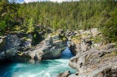 Bergflod i Norge sommartur Arkivbild