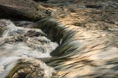 Bergflod i sommarlandskap Arkivfoto