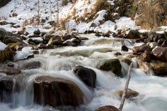 Bergflod i vinter Arkivfoto