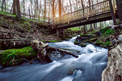 Bergflod med att fotvandra bron för turist- fotvandra för folk Arkivfoto