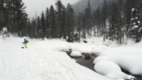 Bergflod med snö stock video