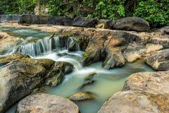 Bergflod med Vattenfalllandskap i mitt av den gröna skogen Arkivbilder