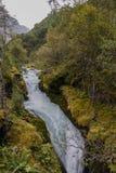 Bergflod mellan mossiga stenar Royaltyfria Bilder