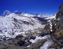 Bergflod nära den Everest basläger Arkivfoto