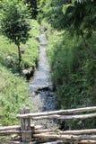 Bergflod och gräsplanlandskap transfagarasan väg romania Arkivfoto