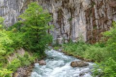 Bergflod på de rena klipporna Royaltyfria Foton