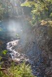 Bergfloden, dimma och vaggar av Carpathian berg i Ukraina Royaltyfria Bilder