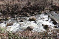 Bergfloden flödar fastar royaltyfria bilder