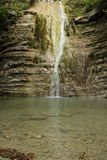 Bergfloden, vattenfall och skogen Royaltyfri Bild