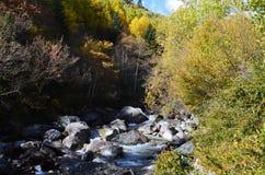 Bergfloder i naturliga Posets-Maladeta parkerar, spanska Pyrenees royaltyfri bild