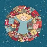 Berggåvor Barnet mottog en gåva Festmåltid av jul kortdaghälsningen irises vektorn för moder s Arkivfoto