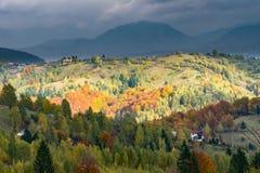 Berghöstliggande med den färgrika skogen Arkivfoton