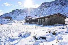 Berghütte Lago Nero Stockfoto